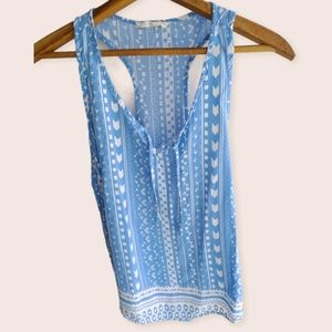 Ocean Drive Blue and White Racerback Tank Top Med.